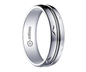 """Brushed white tungsten carbide ring with hand-carving and groove """"TERID"""""""