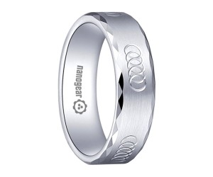 """Brushed white tungsten carbide ring with hand-carving and faces """"EPIRO"""""""