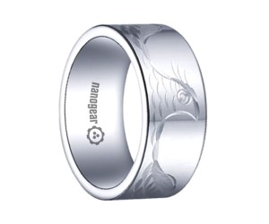 "Flat white tungsten carbide ring with hand-carving ""MURISO"""