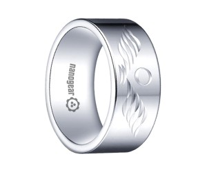 "Flat white tungsten carbide ring with hand-carving ""AQUILLIA"""
