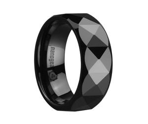 "Faceted сeramic ring with beveled edges ""OMERLI"""