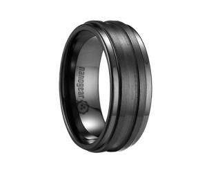 "Ceramic ring with two brushed stripes ""MALETORI"""