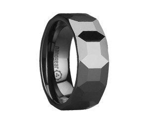 """Classic ring with square faces in the middle """"BERMATO"""""""