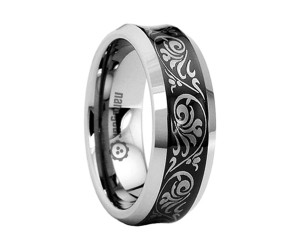 "Concave tungsten carbide ring with laser engraving ""WEERHOL"""