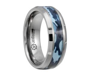 "Tungsten carbide ring with blue camo inlay ""COLIGUS"""