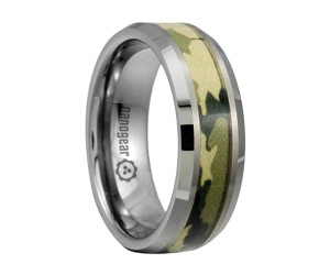 "Tungsten carbide ring with green camo inlay ""HEVIS"""