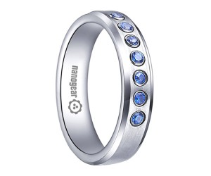 "White tungsten carbide ring with CZ stones ""KREMATOX"""