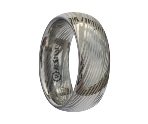 "Rounded tungsten carbide ring ""DAMASCUS"""