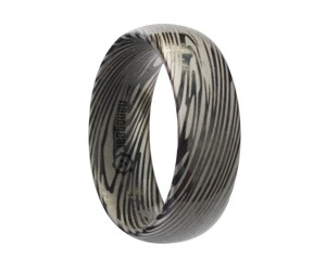 "Rounded tungsten carbide ring ""DAMASCUS BLACK"""