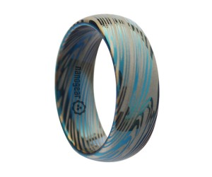"Rounded tungsten carbide ring ""DAMASCUS BLUE"""