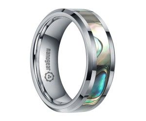 """Tungsten carbide ring with shell inlay """"CALYX"""""""