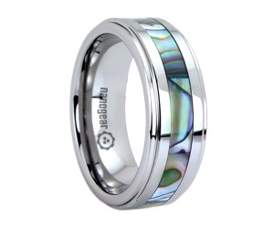 "Tungsten carbide ring with shell inlay ""FOLLITESS"""