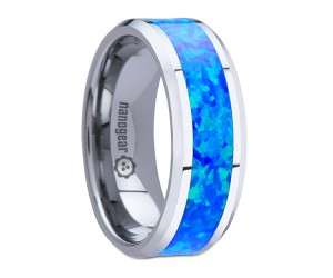 "Tungsten carbide ring with opal inlay ""OPALUS"""