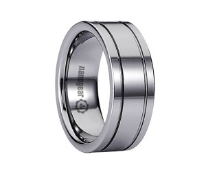 "Tungsten carbide ring with two grooves around circumference ""BINALIS"""
