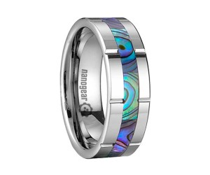 """Grooved tungsten carbide ring with shell inlay """"FEMAR"""""""