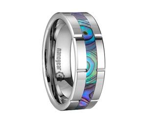 Резное кольцо из карбида вольфрама с инкрустацией из морской раковины «FEMAR»