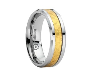 "Flat tungsten carbide ring with golden steel ""FERRAU"""