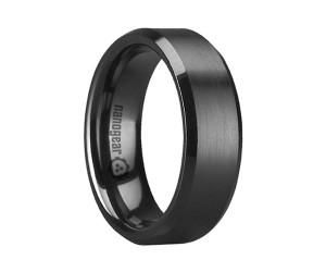 """Flat brushed ceramic ring with beveled edges """"ROJIMES"""""""