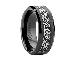 "Black tungsten carbide ring with silver dragon inlay ""NOIR SILVER DRAGON"""