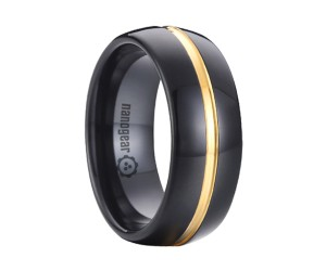 "Black classic tungsten carbide ring with gold groove in the middle ""NOIR CULAUR"""