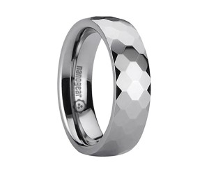 "Tungsten carbide ring with hexagonal faces ""HEXARES"""