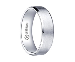 "Brushed white tungsten carbide ring with beveled edges ""AROX"""