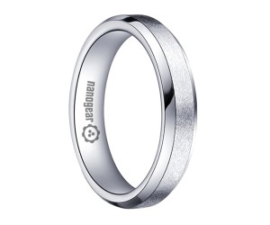 "Brushed white tungsten carbide ring with beveled edges ""ONRE"""