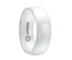 "Classic white rounded ceramic ring ""FERIKADOR"""