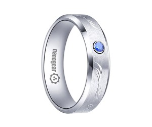 "White tungsten carbide ring with hand-carving and CZ stone ""FERSIL"""