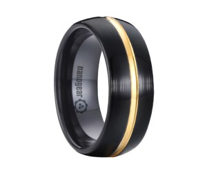 "Black brushed classic tungsten carbide ring with gold groove in the middle ""NOIR CULAUR"""