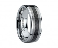 "Tungsten carbide ring with carbon and brushed stripes ""PLAGENA"""