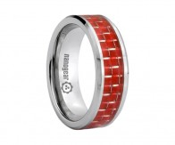 "Flat tungsten carbide ring with red carbon ""PERFALII"""