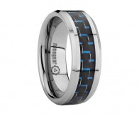 "Flat tungsten carbide ring with black and blue carbon ""ETRIQUE"""