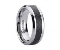 "Flat tungsten carbide ring with black carbon ""SVARTARIS"""