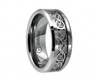 "Tungsten carbide ring with silver dragon inlay ""SILVER DRAGON"""
