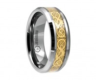 "Tungsten carbide ring with gold dragon inlay ""GOLD DRAGON"""
