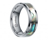 "Tungsten carbide ring with shell inlay ""CALYX"""