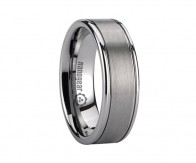 "Flat brushed tungsten carbide ring with two grooves ""CREVIS"""