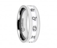 "Tungsten carbide ring with white ceramic inlay ""ZODIACI"""