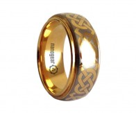 "Classic tungsten carbide ring with flat edges and braided pattern ""EXIMENUM"""