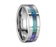 "Grooved tungsten carbide ring with shell inlay ""FEMAR"""