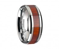 "Tungsten carbide ring with rosewood inlay ""KELMOR"""
