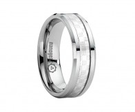 "Flat tungsten carbide ring with silver steel ""FERRENTO"""