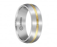 "Classic tungsten carbide ring with gold groove in the middle ""CULAUR"""