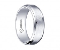 "White tungsten carbide ring with brushed middle ""REMASO"""