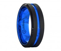 "Black and blue brushed tungsten carbide ring with groove in the middle ""CYMANORE"""