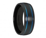 "Black brushed tungsten carbide ring with blue grooves along the edges ""SINIORIS"""