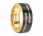 "Black and gold tungsten carbide ring with two cubic zirconia stones ""ORNIOL"""